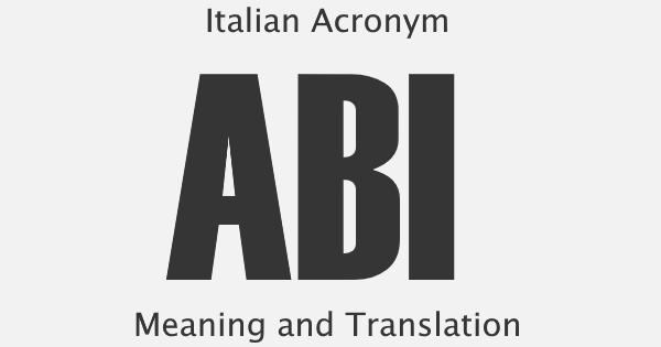 ABI Acronym Meaning