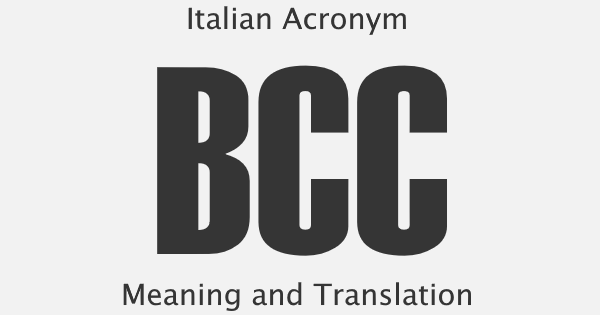 BCC Acronym Meaning