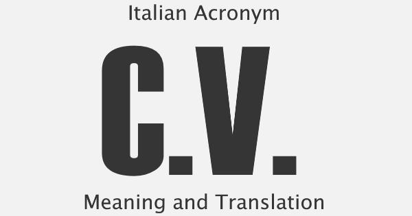 CV Acronym Meaning