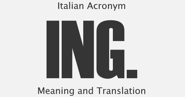 ING Acronym Meaning