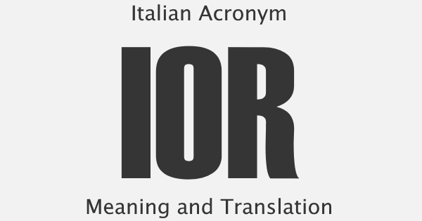IOR Acronym Meaning