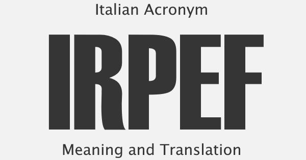 IRPEF Acronym Meaning