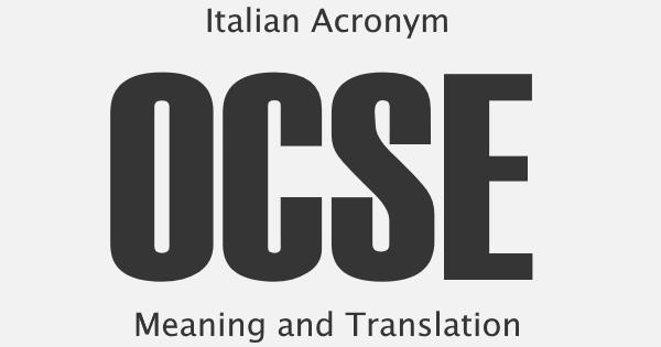 OCSE Acronym Meaning