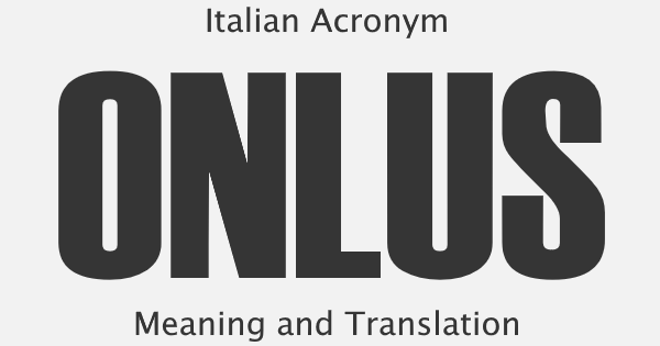 ONLUS Acronym Meaning