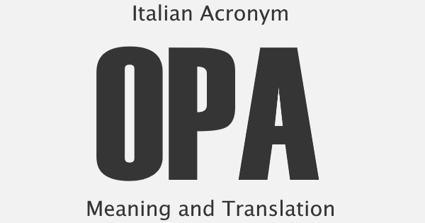 OPA Acronym Meaning