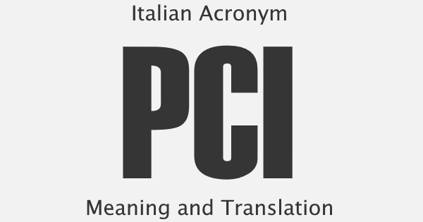 PCI Acronym Meaning