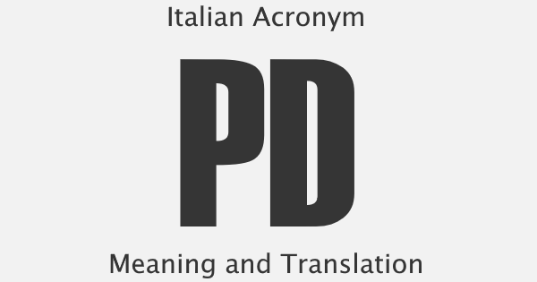 PD Acronym Meaning