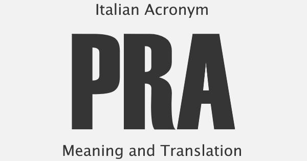PRA Acronym Meaning