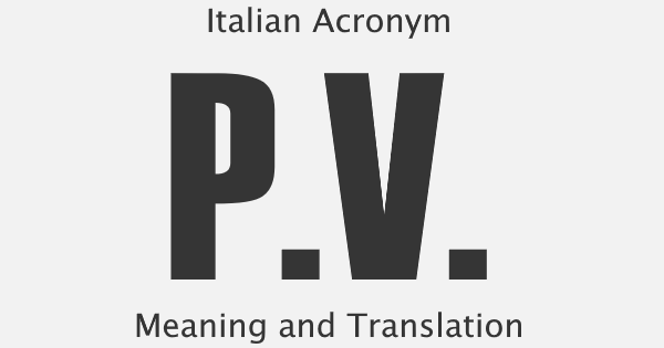 PV Acronym Meaning