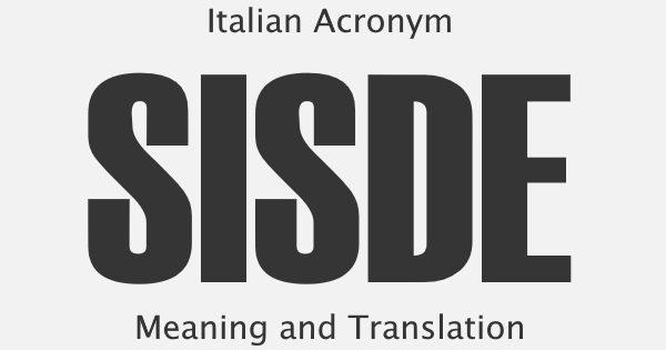 SISDE Acronym Meaning