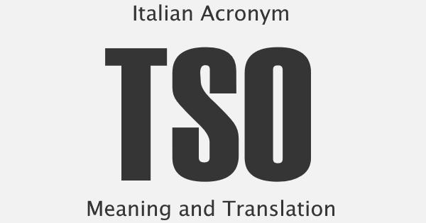 TSO Acronym Meaning